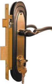 China Indoor Security Double Hook Mortise Lock With Brass Cylinder Copper Color supplier