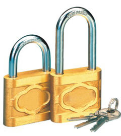 China Cast Globe Brass High Security Padlock Short / Long Beam With Three Iron Keys factory