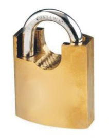 China Short Half Beam Wrapped Steel Security Door Locks / Anti - Cut Brass Safety Padlock factory