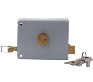 China Grey Brass Outdoor Rim Lock / Customized Finish Rim Door Lock For Entrance Door factory